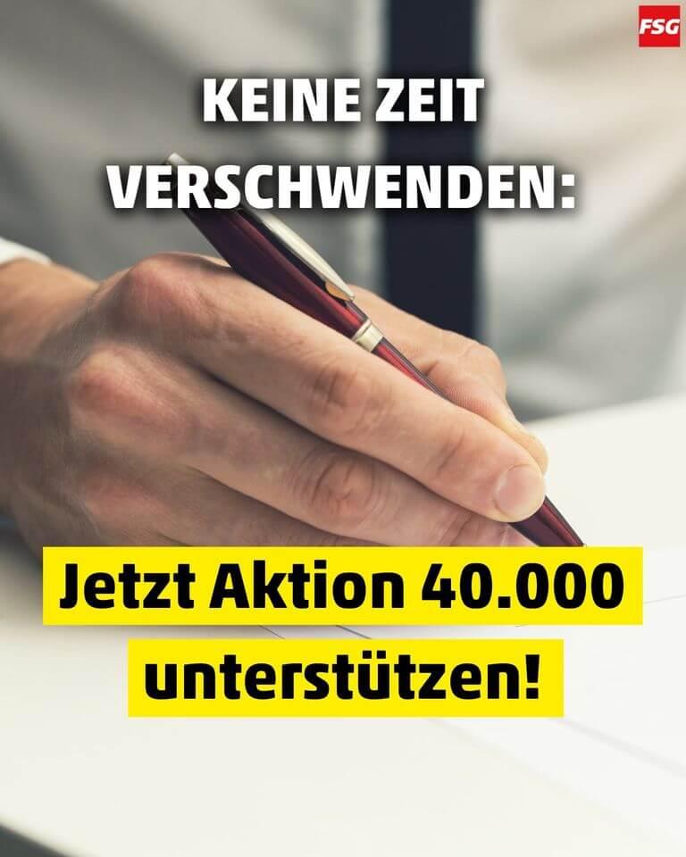 Aktion 40000 Petition Jetzt unterschreiben
